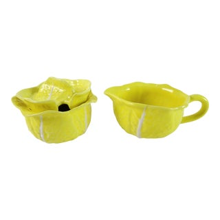 Vintage Yellow Cabbage Creamer & Sugar Bowl - 2 Pieces
