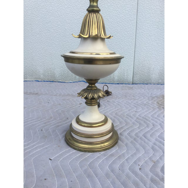 White 1960's Stiffel Hollywood Regency Table Lamps For Sale - Image 8 of 8