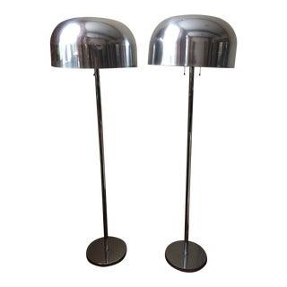 1970s Mid-Century Modern Laurel Chrome Mushroom Floor Lamps - a Pair