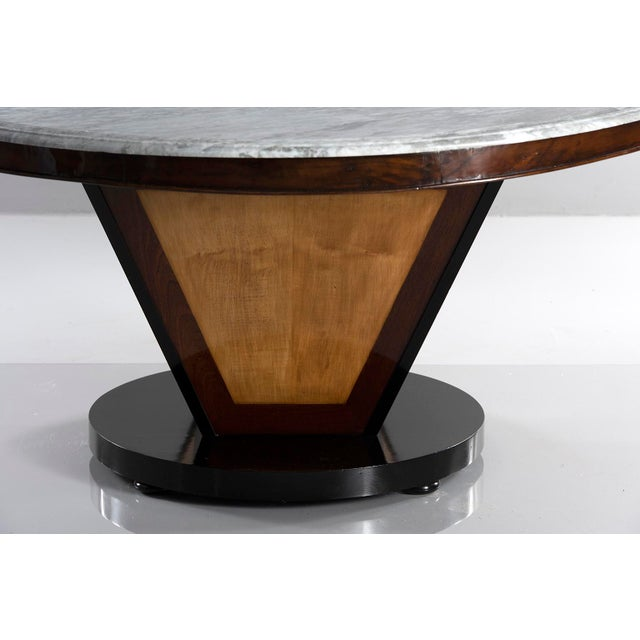 1970s Large Deco Inspired Italian Marble Table With Custom Made Base For Sale - Image 5 of 13