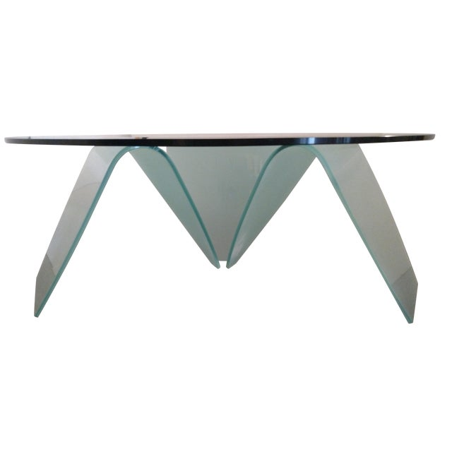 Organic-Shape Frosted Glass Coffee Table For Sale