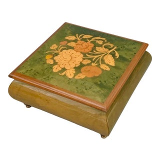 "Vintage Italian Burl Elm Marquetry Footed Jewelry Music Box "" Playing Memory "", Reuge Swiss Movement For Sale"