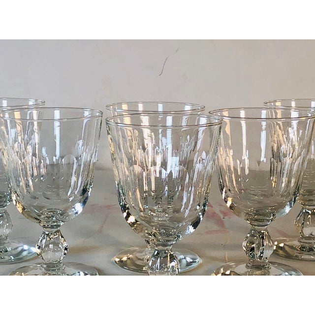 1950s Mitred Glass Wine Stems, Set of 6 For Sale In Boston - Image 6 of 9