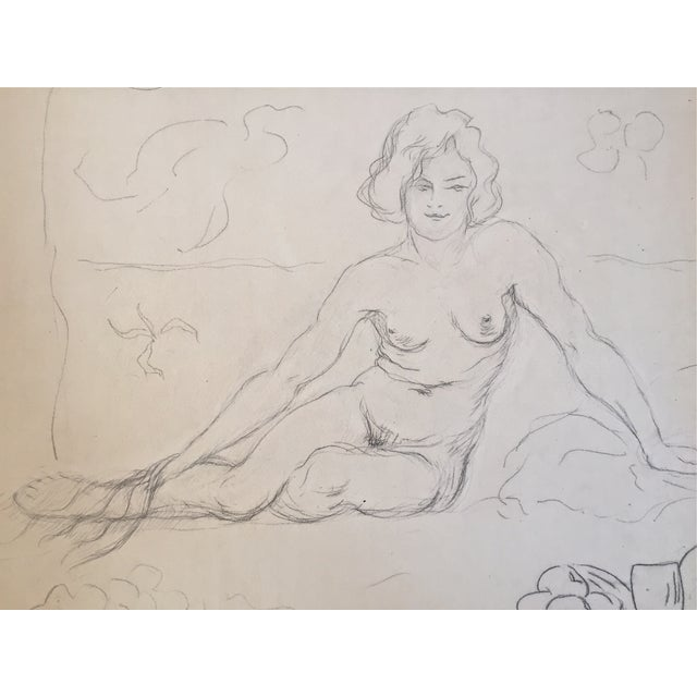 Vintage Drawing Seated Nude 1930 - Image 2 of 4