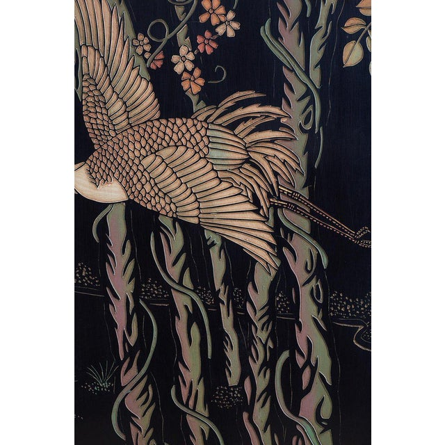 Green Chinese Four-Panel Coromandel Screen of Cranes For Sale - Image 8 of 13