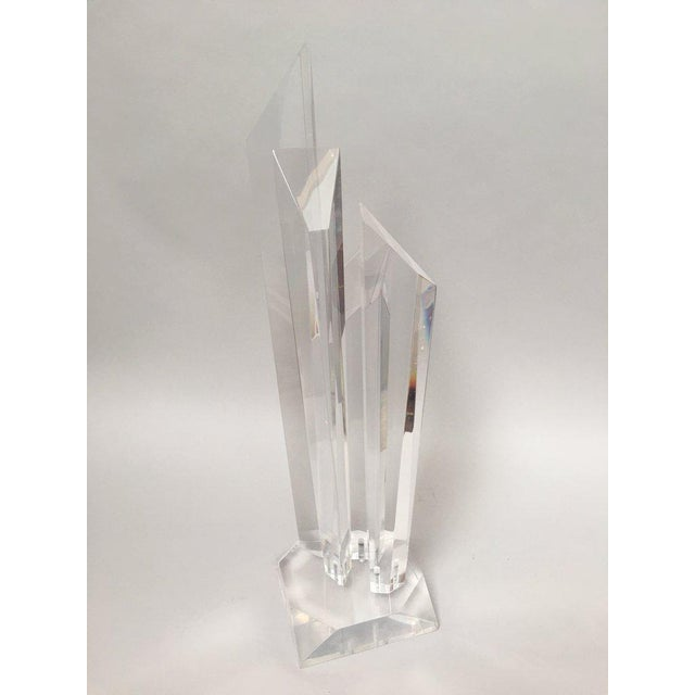Tall Modern Geometric Lucite Sculpture For Sale - Image 9 of 11