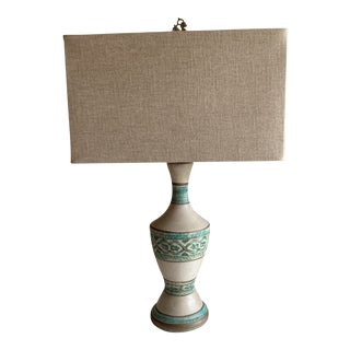 Midcentury Ceramic Table Lamp With Linen Shade For Sale
