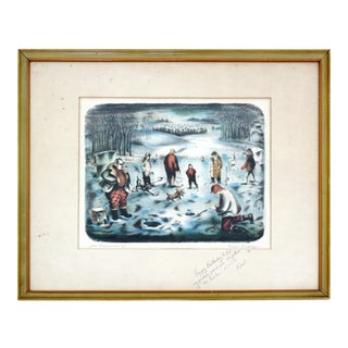 Mid Century Modern Emil Weddige Framed Signed Lithograph Ice Fisherman For Sale