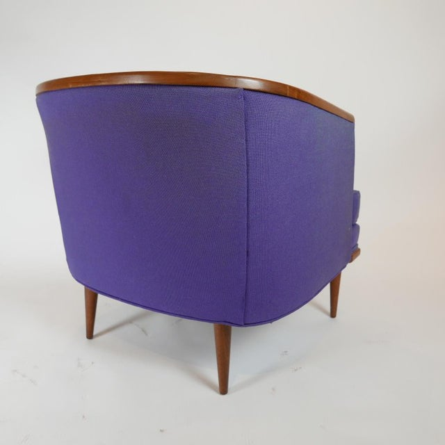 Mid 20th Century Pair of Milo Baughman Barrel Back Lounge Chairs With Walnut Detail For Sale - Image 5 of 13