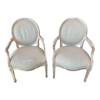J. Robert Scott Silver Leaf Armchairs For Sale