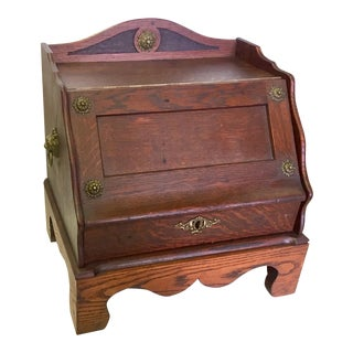 English Traditional Oak Letterbox With Brass Hardware For Sale
