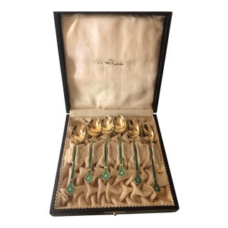 Set of 6 Antique Sterling Silver Gilt Washed & Guilloche Enamel Demitasse Spoons For Sale