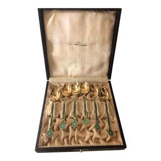 Set of 6 Antique Sterling Silver Gilt Washed & Guilloche Enamel Demitasse Spoons For Sale