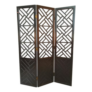 3 Panel Chinese Chippendale Room Divider Screen For Sale