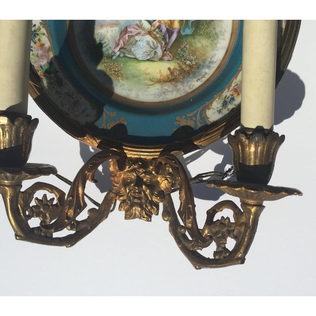 Antique Plate Wall Sconces - A Pair - Image 6 of 11