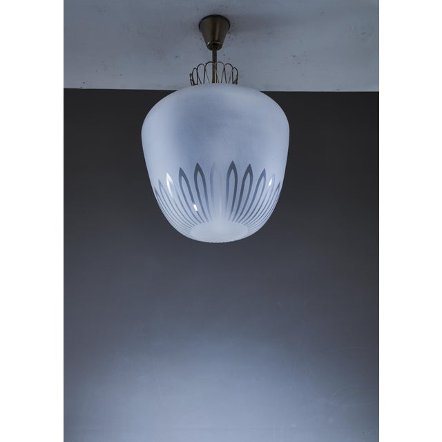 Large Swedish frosted glass and brass pendant, 1940s For Sale - Image 4 of 5