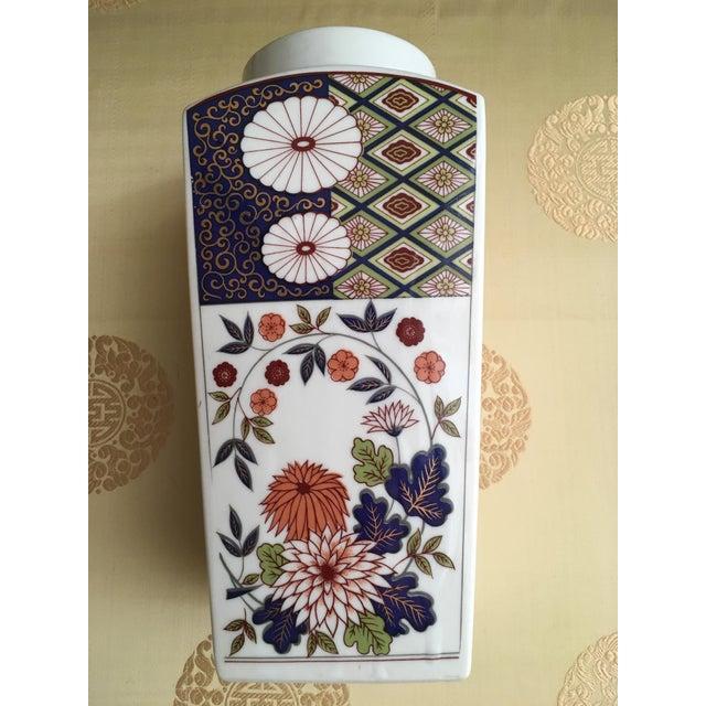 Vintage Flower Plaid Art Design Vase For Sale - Image 5 of 10