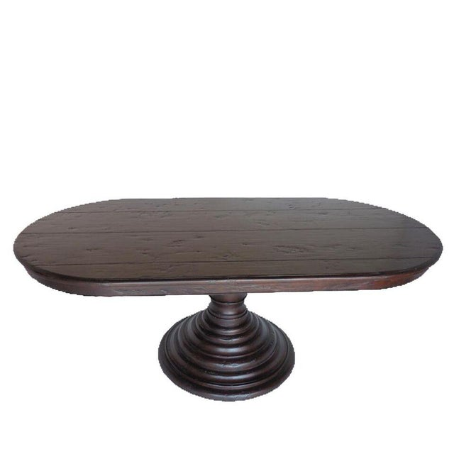 Wood Custom Oval Beehive Pedestal Dining Table in Walnut Wood For Sale - Image 7 of 7