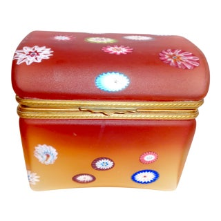 Mid Century Opaline Glass Box, Ombre Coloration With Inset Millefiori For Sale