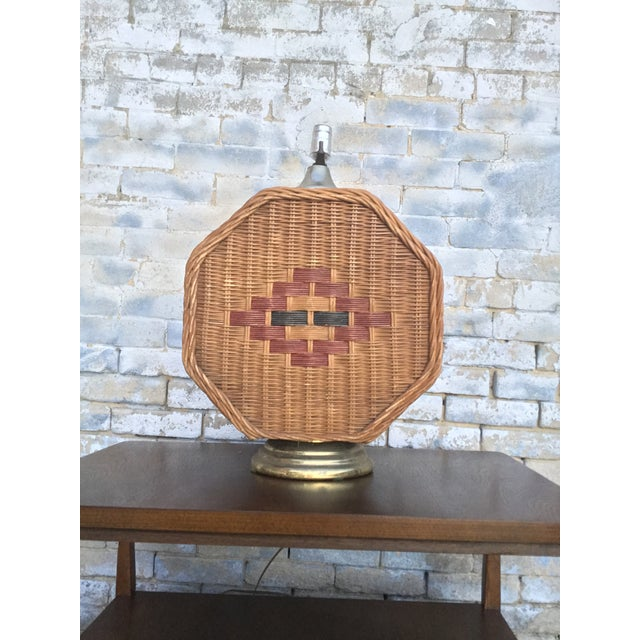 Boho Chic Mid Century Vintage Octagonal Wicker Lamp For Sale - Image 3 of 6