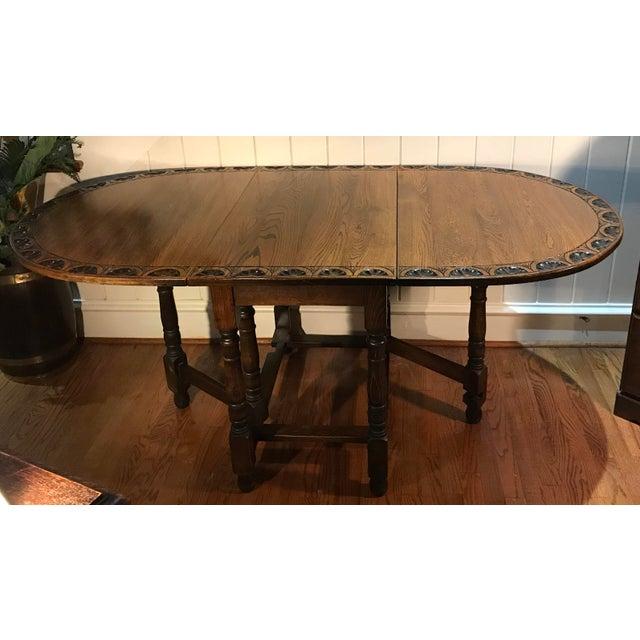 Brown Vintage Carved Top Drop Leaf Table For Sale - Image 8 of 13