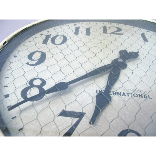 1940s Antique International Enameled Steel Factory Clock With Original Safety Glass For Sale - Image 5 of 6