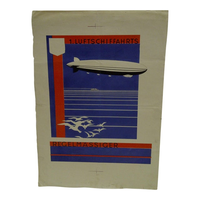 C. 1920 First Zeppelin Non-Stop Flight Artist Proof for Poster For Sale