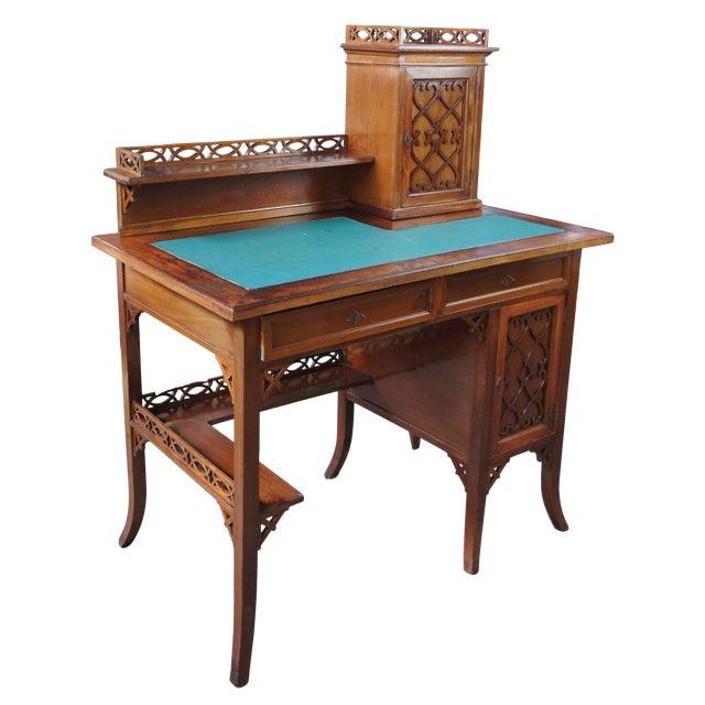 Antique Victorian German Desk Green Vinyl Top Gothic Pierced Fret Board Writing Desk For Sale