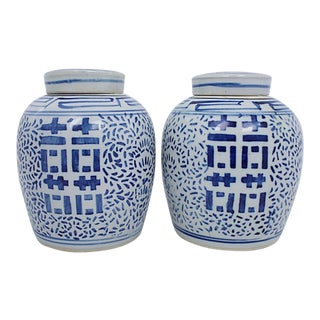 Blue & White Ginger Jars, a Pair For Sale