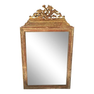 1750 French Louis XVI Gold Leaf Wood Mirror For Sale
