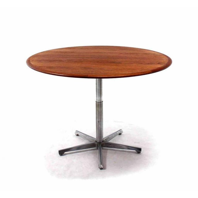 Hi Lo Convertible Coffee Dining Dinette Teak Table On 5 Point Star Base