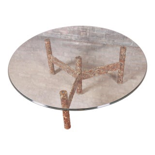 Silas Seandel Mid-Century Modern Brutalist Mixed Metal Cocktail Table, 1970s For Sale