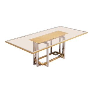 Romeo Rega Brass and Chrome Dining Table For Sale