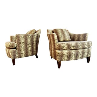 Reupholstered Henredon Leopard Print Lounge Chairs - a Pair For Sale