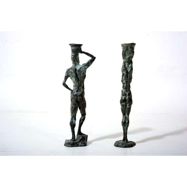 Pair of Mid-Century Modern Bronze Sculpture Holders For Sale - Image 4 of 10