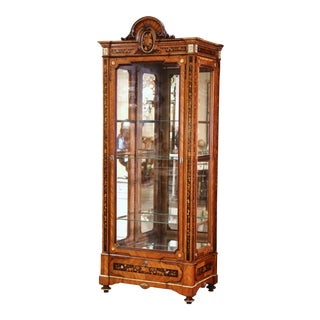 19th Century French Louis XVI Walnut Marquetry Vitrine With Glass Sides and Door For Sale