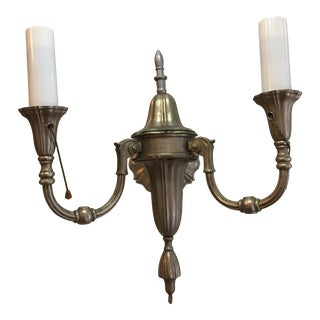 1920s Two Arm Sheffield Nickel Wall Sconce For Sale