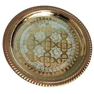 Silver & Brass Handmade Moroccan Tray For Sale