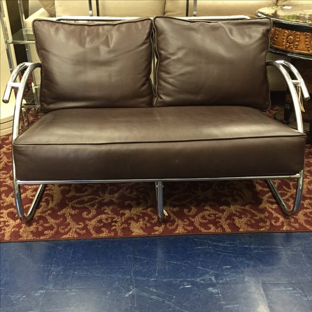 Chrome and Brown Leather Loveseat - Image 2 of 6