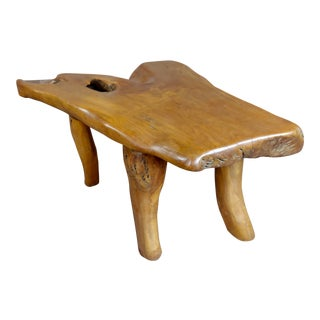 Hand-Carved Teak Root Tree Coffee Table For Sale