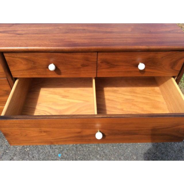 Kipp Stewart for Drexel, Walnut Dresser & Mirror - Image 4 of 10