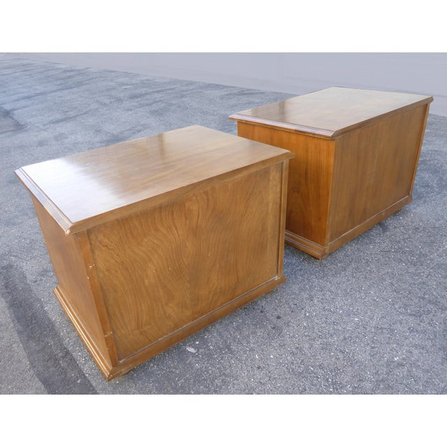 Mid Century Modern Drexel Two Drawer Solid Wood Nightstands - a Pair - Image 7 of 11
