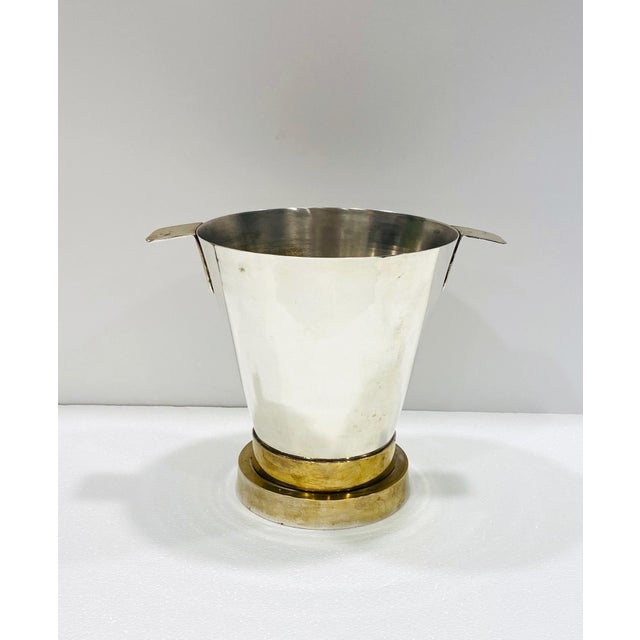 1970's Art Deco Style Wine Cooler and Ice Bucket With Brass Accents, Italy For Sale - Image 13 of 13