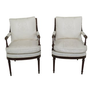 Modern French Louis XVI Mahogany Upholstered Open Arm Chairs- A Pair For Sale