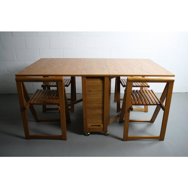 Mid-Century Modern Mid-Century Drop Leaf Hideaway Table With 4 Chairs For Sale - Image 3 of 9