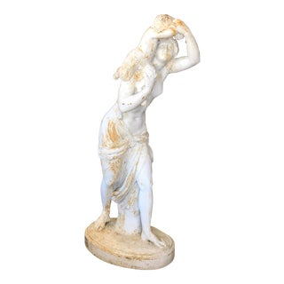 Antique J.J. Ducel & Fils French Painted Cast Iron Statue of a Maiden Holding Young Satyr For Sale
