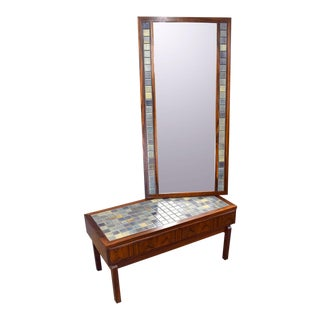 Danish Rosewood and Handmade Tile Hall Set - Chest and Mirror For Sale