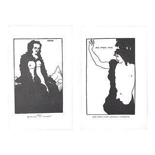 Vintage Art Nouveau Lithographs-A Pair-Aubrey Beardsley For Sale