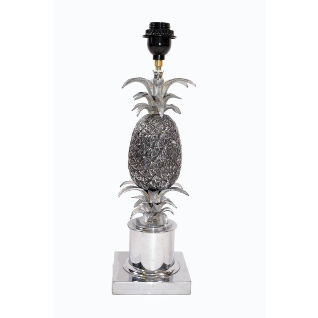 Maison Charles Maison Charles Chrome & Nickel Pineapple Table Lamp French Provincial 1960s For Sale - Image 4 of 10