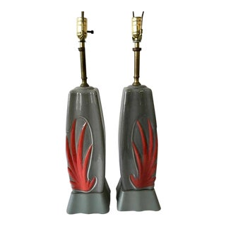 Atomic Age Ceramic Table Lamps - a Pair For Sale